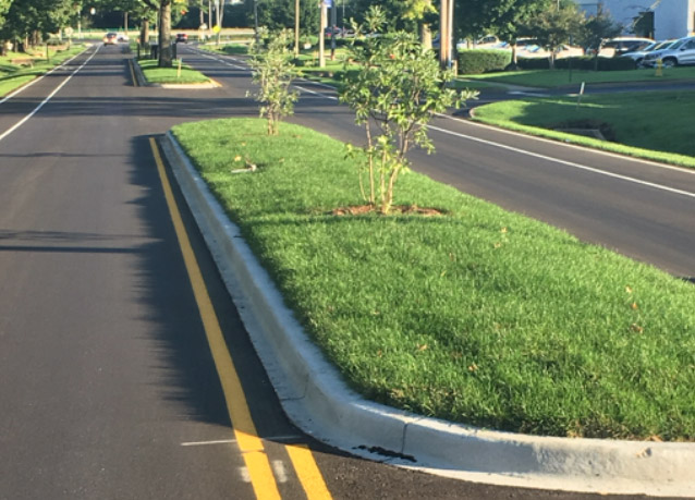 image of HGT sod installed in traffic islands as part of a beautification project